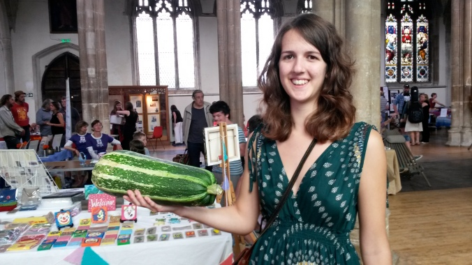 Weighing up the marrow for 'Guess the Weight@