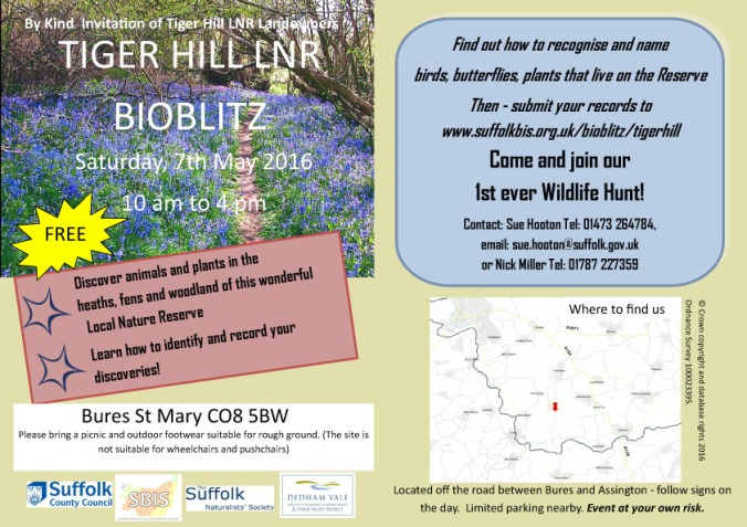Tiger Hill Bioblitz flyer