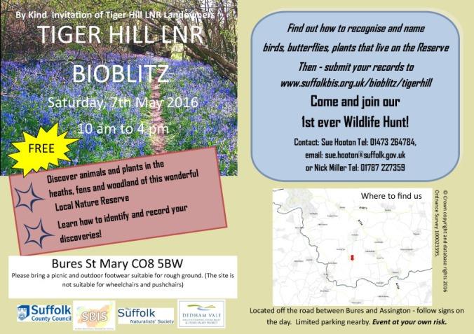 Tiger Hill Bioblitz flyer